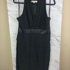 Evan Picone black ruffle dress, sz 14